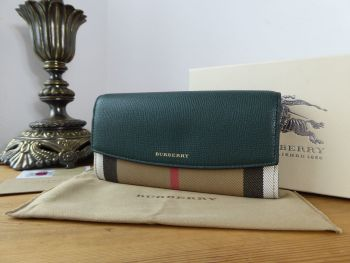 Burberry Porter Continental Flap Wallet in House Check & Dark Bottle Green Calfskin - New