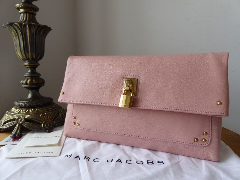 Marc Jacobs Large Eugenie Clutch in Baby Pink Glazed Lambskin - New