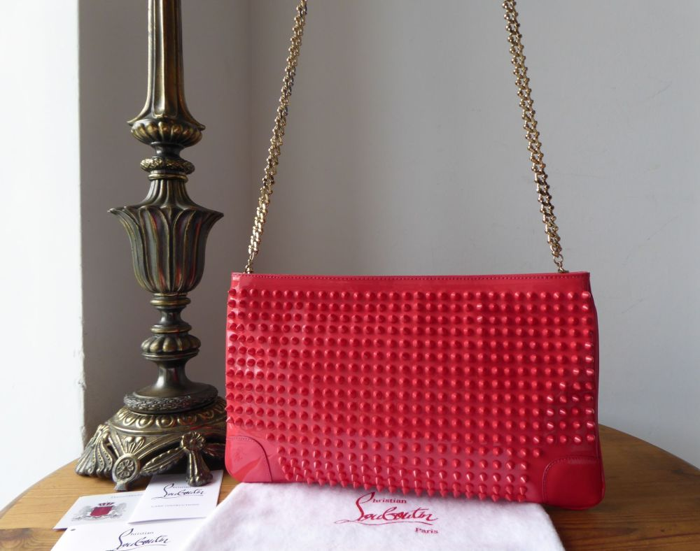 Christian Louboutin Loubiposh Spiked Shoulder Clutch in Framboise Pink Calf