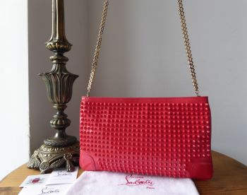 Christian Louboutin Loubiposh Spiked Shoulder Clutch in Framboise Pink Patent Leather