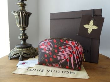 Louis Vuitton Limited Edition Zipped Cosmetic Pouch in Jungle Palm Sugar Pink Coquelicot Monogram  - New
