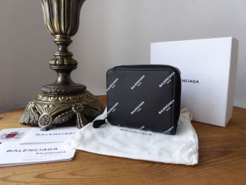 Balenciaga Logo Bazar Bill Fold Zip Around Wallet in Black Calfskin