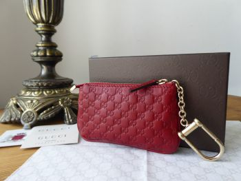 Gucci Small Zipped Key Pouch Cles in Bordeaux Red GG Micro Guccissima Leather - New - SOLD