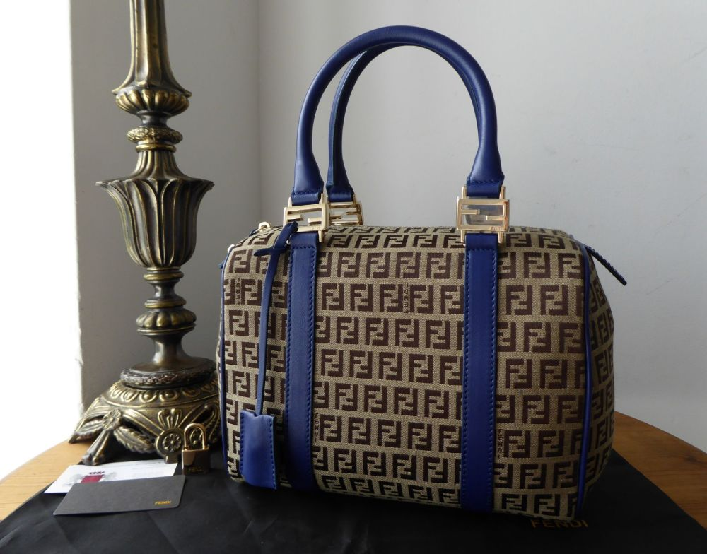 Fendi Forever Bauletto Boston Bag in FF Zucchino with Cobalt Blue Leather T