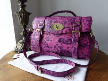 Mulberry Regular Alexa in Peony Pink Smudged Leopard Printed Leather - SOLD