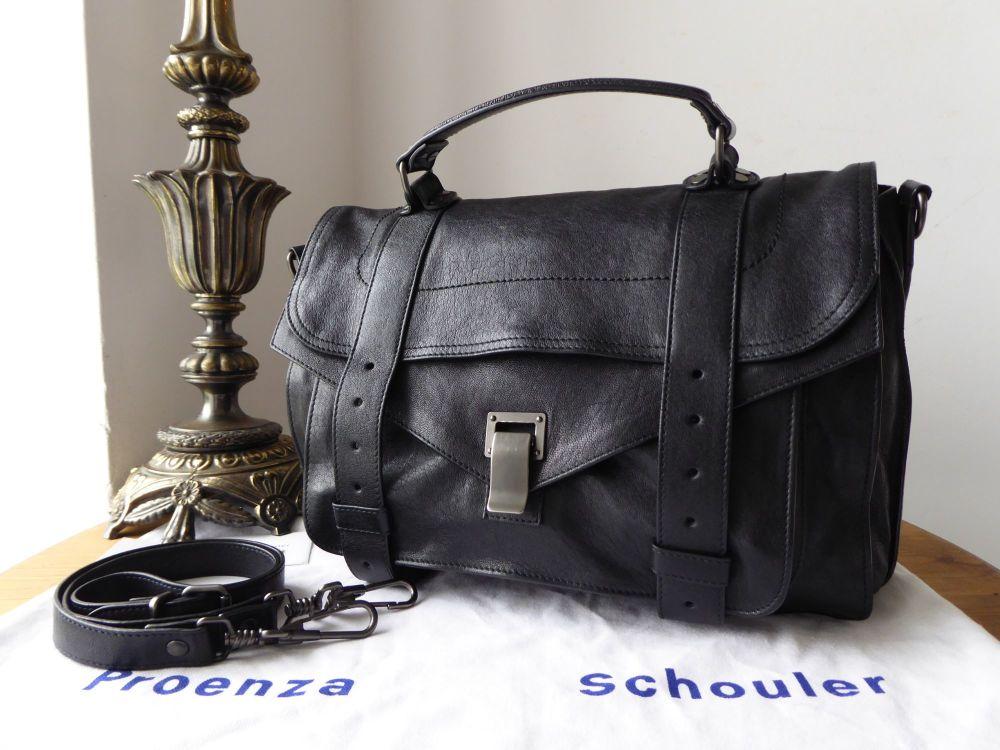 Proenza Schouler PS1 Medium Satchel in Black Lux Glazed Lambskin