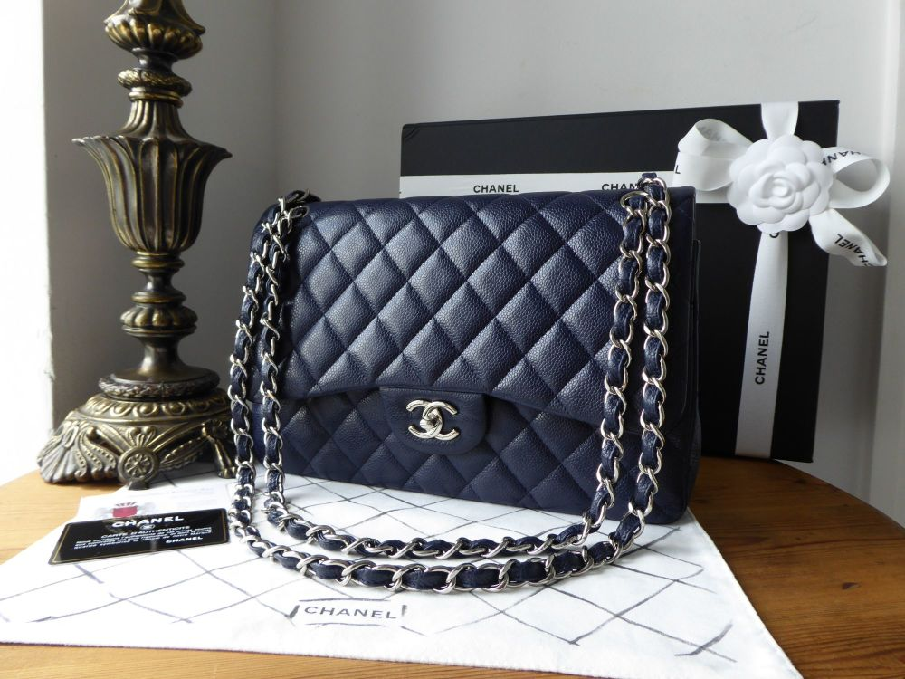 Chanel Classic 2.55 Jumbo Double Flap Bag in Dark Navy Caviar with Shiny Si