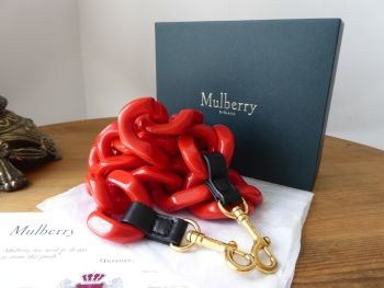 Mulberry Acetate Shoulder Strap in Lipstick Red and Golden Brass - SOLD