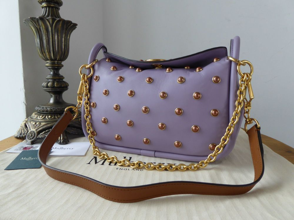 Mulberry Small Leighton in Purple Heather Soft Lamb Nappa with Pearls - New