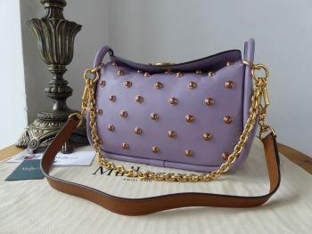 Mulberry Small Leighton in Purple Heather Soft Lamb Nappa with Pearls - New*