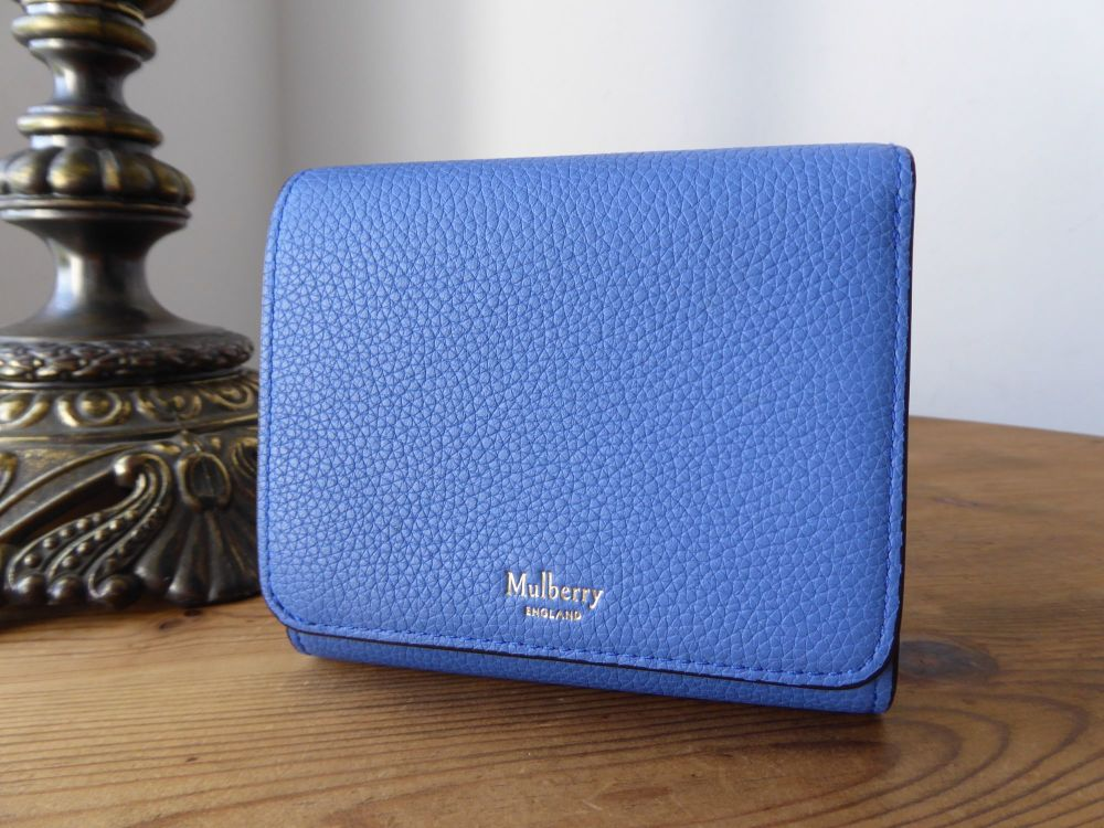 Mulberry Compact Folded Purse Wallet in Porcelain Blue Small Classic Grain