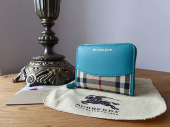 Burberry Bodmin Zip Around Compact Wallet in Horseferry Check with Aqua Green Calfskin - SOLD