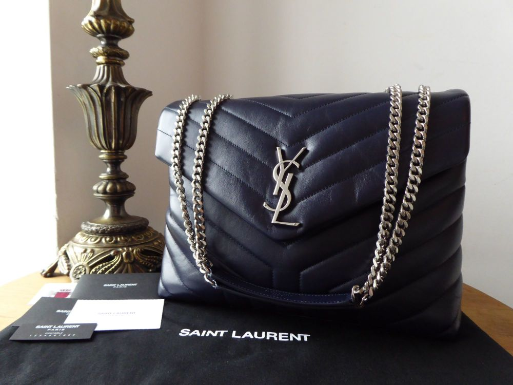 Saint Laurent YSL Medium Loulou in Navy Blue Chrevron Quilted Leather