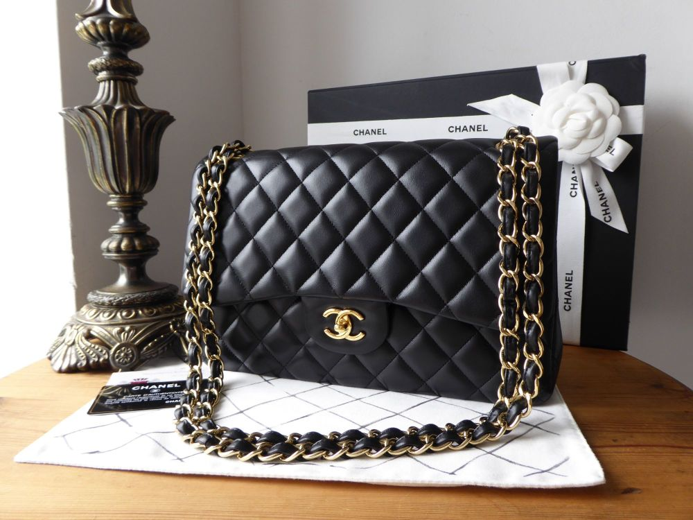 Chanel Timeless Classic 2.55 Jumbo Double Flap Bag in Black Lambskin with G
