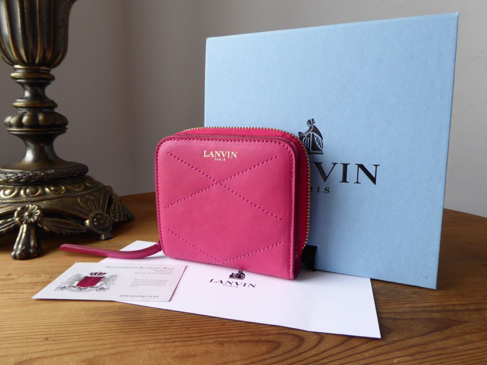Lanvin Sugar Compact Wallet in Rose Vif Lambskin