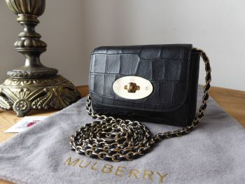 Mulberry Mini Lily in Black Croc Embossed Leather with Shiny Gold Hardware - SOLD