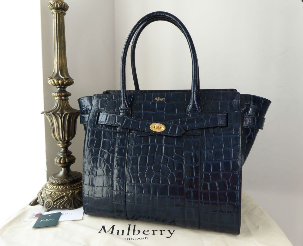 Mulberry Zipped Bayswater in Navy Blue Shiny Croc Printed Leather - As New