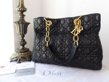 Dior Lady Dior Large Soft Tote in Black Lambskin with Gold Hardware - SOLD