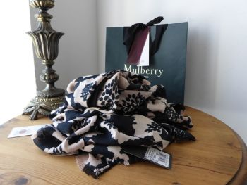 Mulberry Floral Tree Wrap Scarf in Black & Nude Bamboo Soya Mix - New