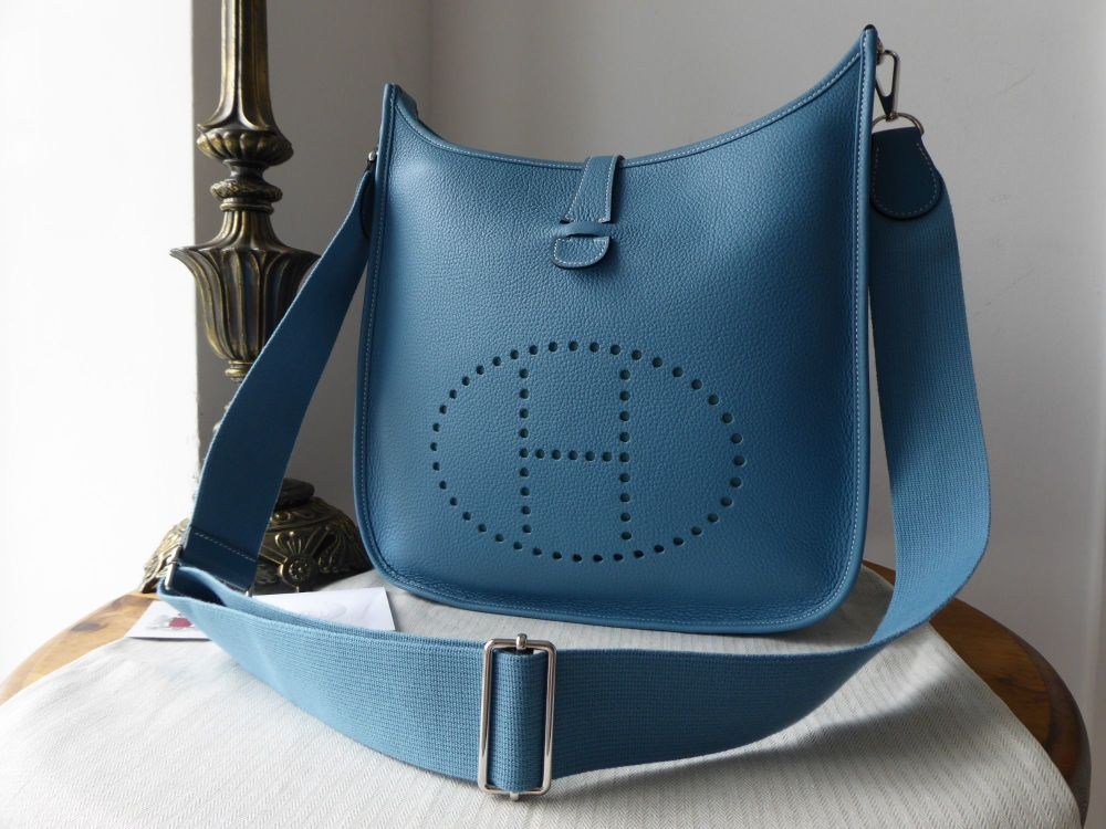 Hermes Evelyne III GM in Blue Jean Clemence Leather and Felt Liner As New