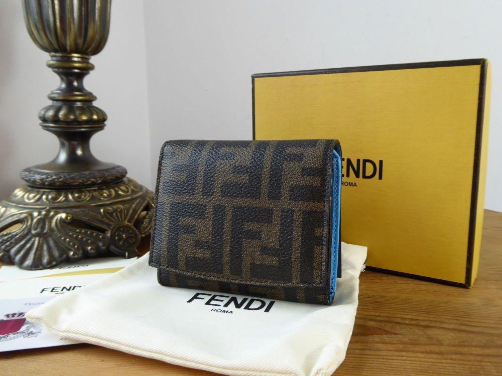 Fendi Compact Purse Wallet in Tobacco Zucca With Maldive Blue Vitello Calfs
