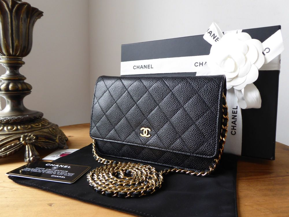 Chanel Classic WOC Wallet on Chain in Black Caviar Leather with Shiny Gold