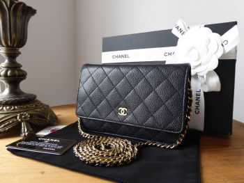 Chanel Classic WOC Wallet on Chain in Black Caviar Leather with Shiny Gold Hardware