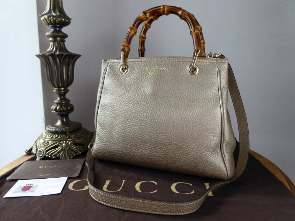 Gucci Bamboo Small Tote in Champagne Metallic Calfskin with Pale Gold Hardw