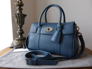 Mulberry Classic Small Bayswater Satchel in Steel Blue Small Classic Grain