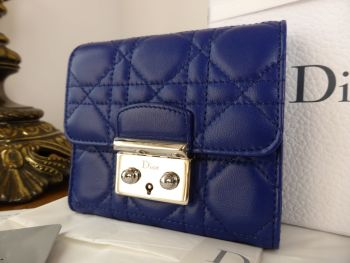 Dior French Compact Purse Wallet in Indigo Blue Cannage Lambskin - As New