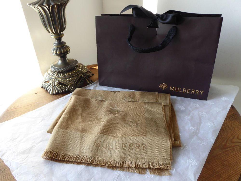 Mulberry Monogram Star Jacquard Rectangular Scarf in Camel Silk & Wool