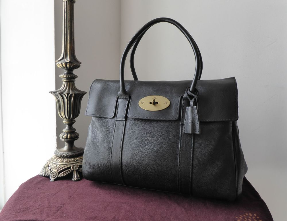 Mulberry Classic Heritage Bayswater in Black Darwin Leather with Antiqued B