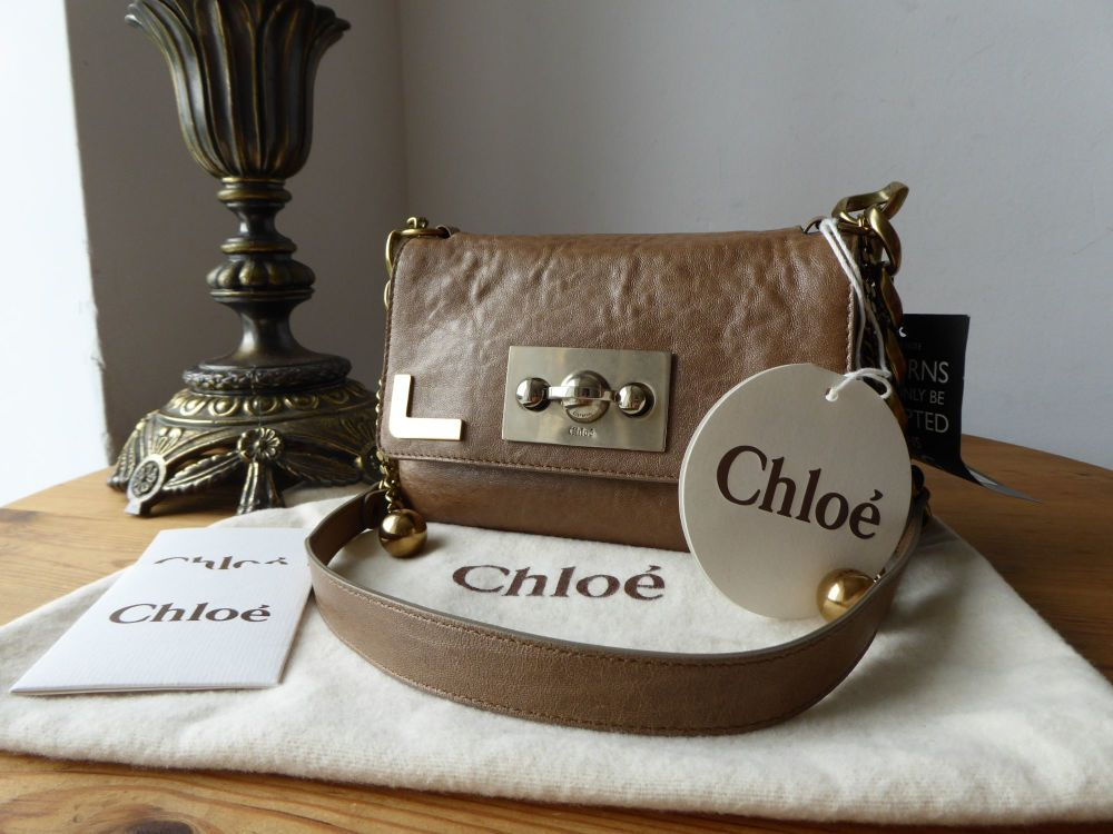 Chloé Mini Flap Bag in Taupe Shiny Lambskin - New*