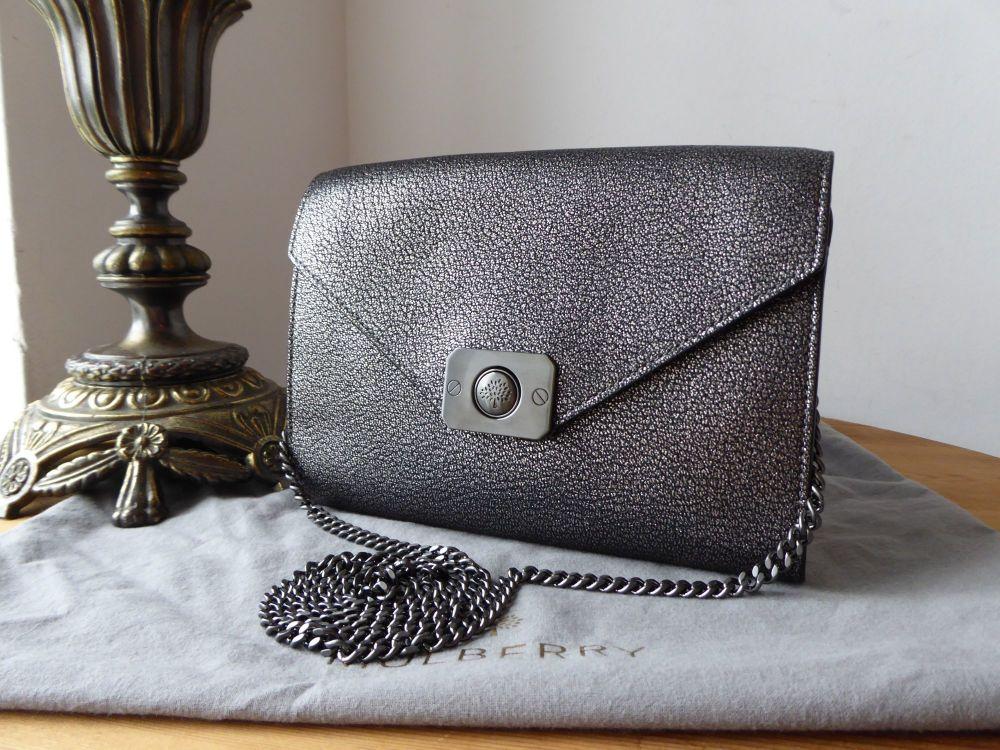 Mulberry Delphie Shoulder Clutch in Dark Silver Metallic Goat Leather