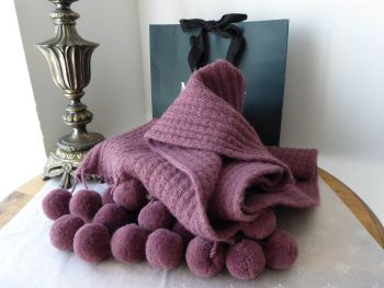 Mulberry Pompom Winter Knitted Scarf in Heather Alpaca Wool Mix - As New