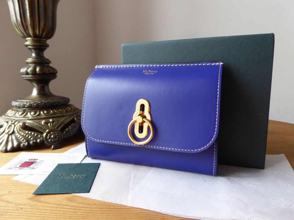 Mulberry Amberley Medium Wallet Cobalt Blue Smooth Calf - New