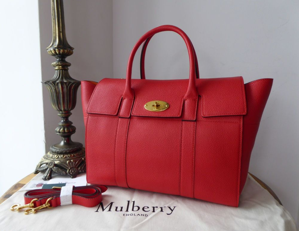 Mulberry Bayswater with Strap in Fiery Red Small Classic Grain Leather - As