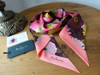 Mulberry Big Daisies Large Twilly Bag Scarf - As New