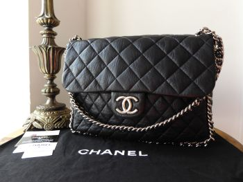 Chanel Maxi Flap Multi Chain Around in Black Soft Aged Calfskin with Silver Hardware