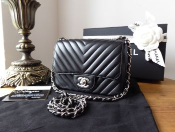 Chanel Classic Square Mini Flap in Chevron Quilted Black Lambskin with Silver Hardware - New