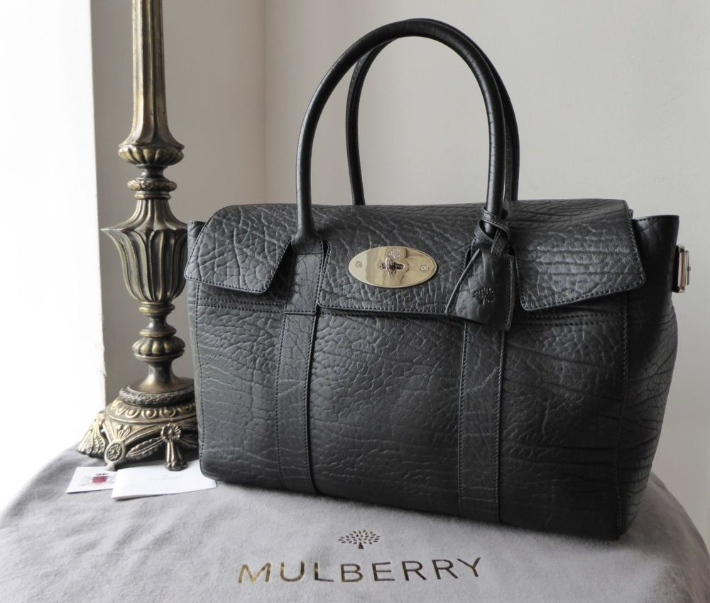 Mulberry Large Bayswater Buckle Bag in Black Shrunken Calf - As New