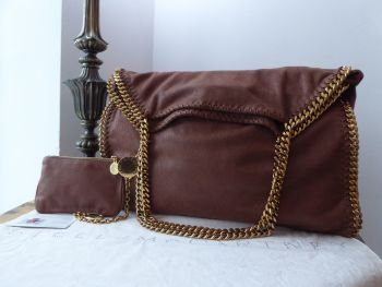 Stella McCartney Falabella Large Tote and Zip Pouch in Dark Blush Shaggy Deer with Antiqued Gold Hardware