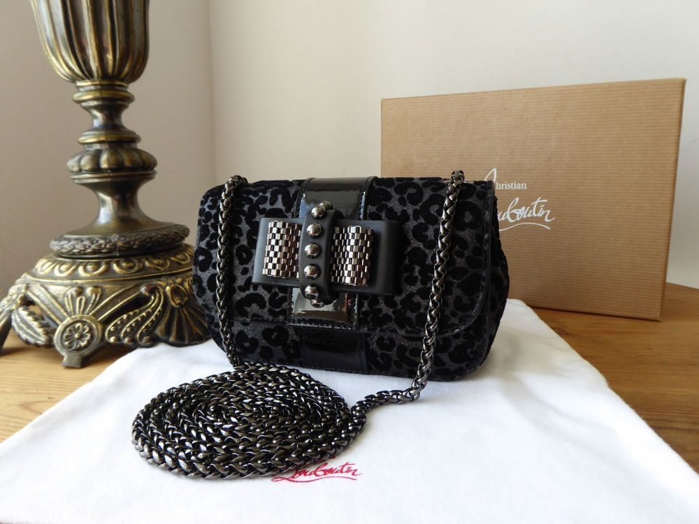 Christian Louboutin Sweety Charity Mini Bag in Black Glitter Leopard Leo Fl