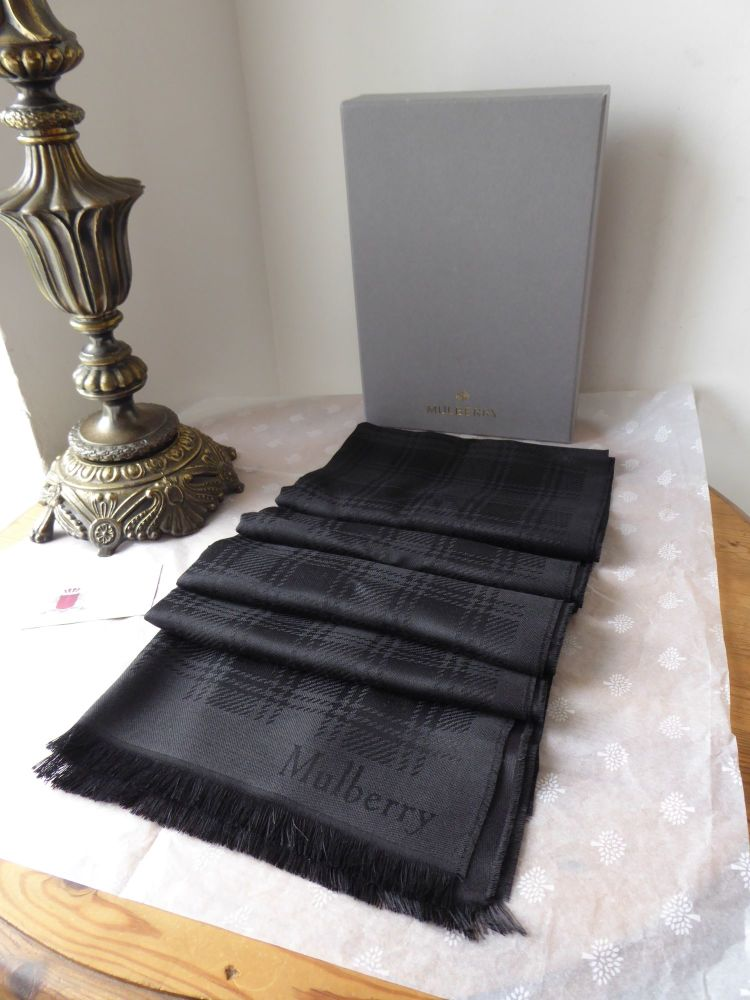 Mulberry Rectangular Scarf in Black Monogram Check Silk Wool Mix - New