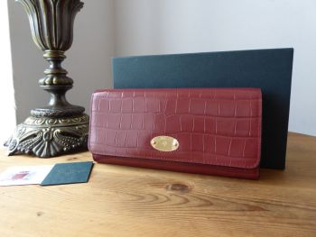 Mulberry Plaque Long Wallet Continental Flap Purse in Venetian Red Shiny Croc Print -SOLD