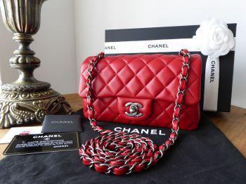Chanel Mini Rectangular Classic Flap in Red Lambskin with Ruthenium Hardware