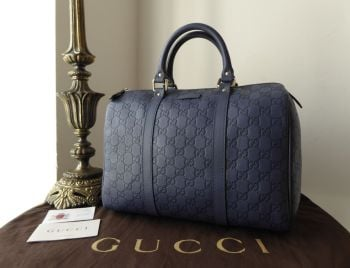 Gucci Medium Boston Joy in Blue GG Guccissima Embossed Leather with Silver Hardware