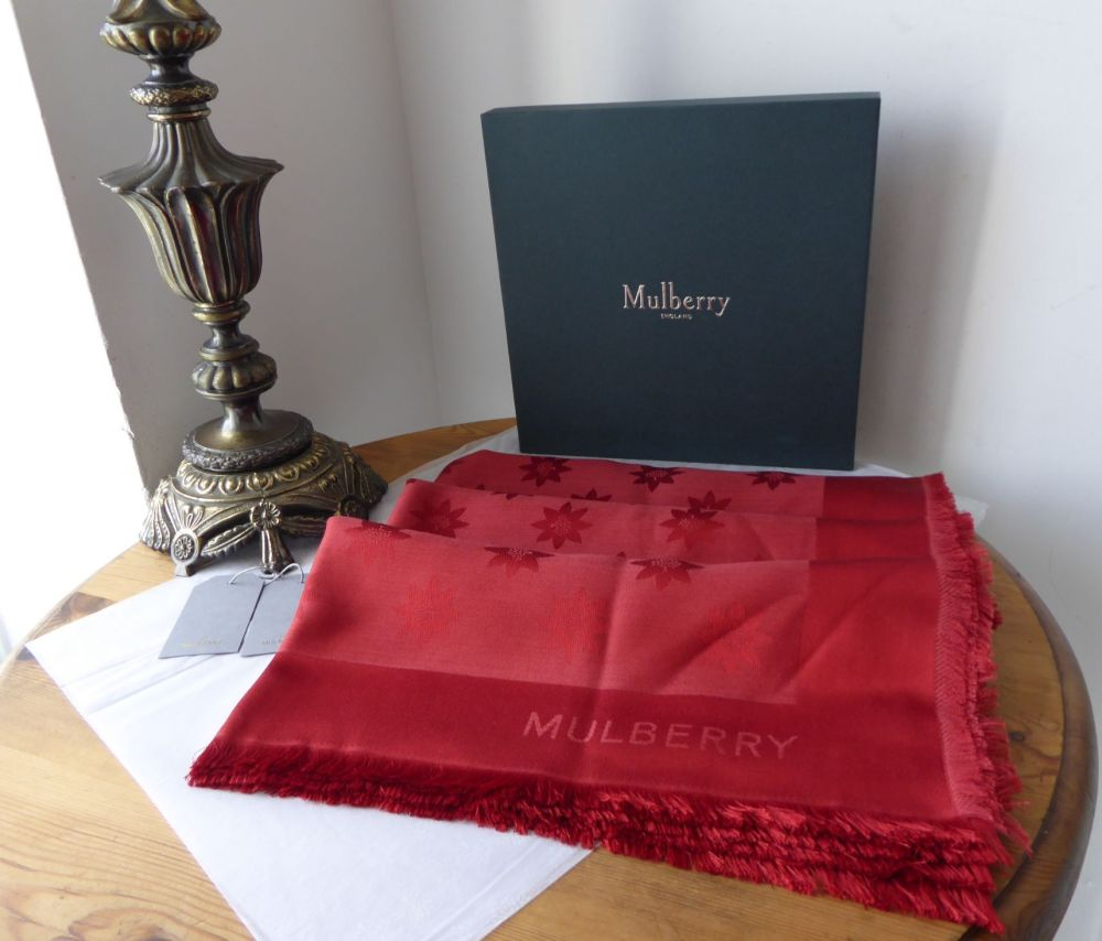 Mulberry Monogram Star Jacquard Large Square Scarf Wrap in Poppy Red Silk W