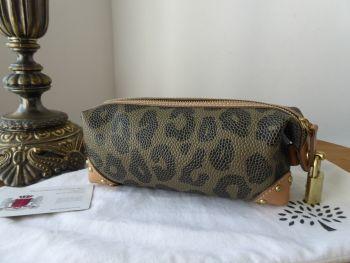 Mulberry Make Up Pencil Case Zip Tube Pouch in in Leopard Print Bird's Nest Scotchgrain - Sold