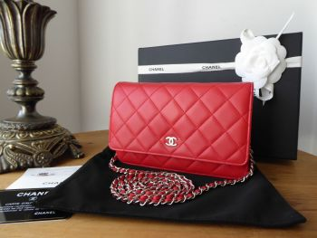 Chanel Classic Wallet on Chain WOC in Flame Red Lambskin with Shiny Silver Hardware